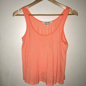 Forever21 Neon Orange Striped Crop Top